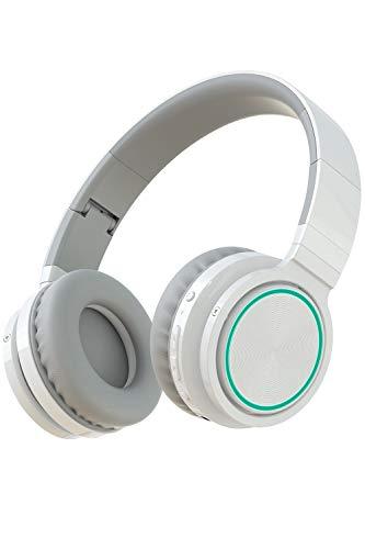 PICUN B12 Bluetooth Kopfhörer Kabellos Over-Ear mit LED-Farblicht Faltbares 25 Stündiger Wiedergabe drahtlose Headsets mit mikrofon, TF Slot und Kabel - Weiß