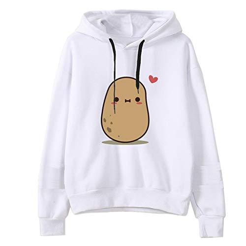 ZJRXM Teen Girls Kawaii Hooded Sweatshirt Womens Long Sleeve Cute Hoodies Pullover Tops Long Sleeve Fall Winter Jumper Top White