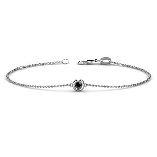 TriJewels 3mm Round Black Diamond 1/10 ct Womens Solitaire Station Minimalist Bracelet 14K White Gold (0.1 Ct Diamond Bezel)