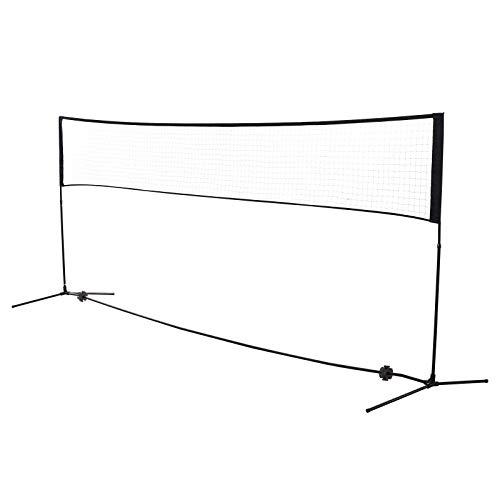 HOMCOM Badmintonnetz Volleyball- und Tennis-Netz Tragbar 2 Höhen 94/158cm Tragetasche PE 400 x 60 cm