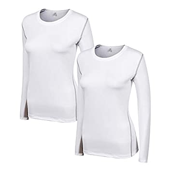 WANAYOU Women s Compression Shirt Dry Fit Long Sleeve Running Athletic T-Shirt Workout Tops,2 Pack White,S