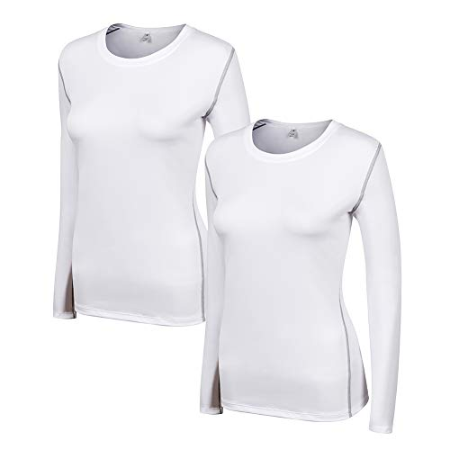 WANAYOU Women's Compression Shirt Dry Fit Long Sleeve Running Athletic T-Shirt Workout Tops,2 Pack White,S