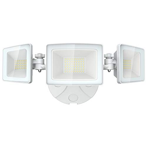 Olafus 5000LM LED Security Light, 50W Super Bright Flood Lights Outdoor, 3 Adjustable Heads, 6000K White Exterior Light, IP65 Waterproof Wall Mount Floodlights for Garage, Eave, Garden, Patio, Porch