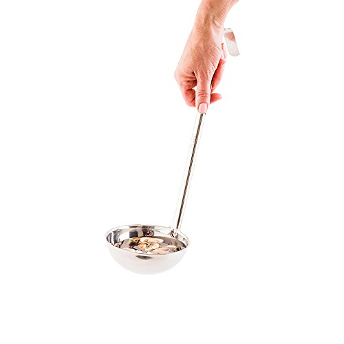 Met Lux 12 Ounce Serving Ladle 1 With Hook Handle Soup Ladle - Dishwasher-Safe Corrosion-Resistant Stainless Steel Gravy Ladle For Stirring Pouring And Serving - Restaurantware
