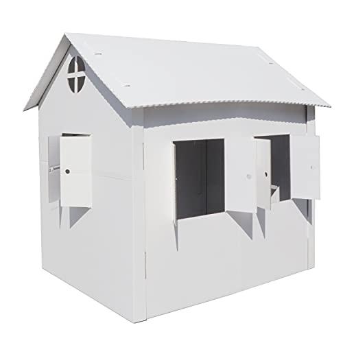 smiley pack Casa de juegos de cartón, casa de juegos para niños, 140 x 89 x 111 cm, casa de cartón para niños, XXL, para manualidades, caseta de cartón para niños, 1400 x 890 x 1110 mm