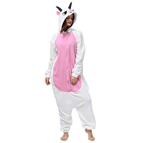 Katara 1744 (30+ Designs) Ziegen-Kostüm Goat, Unisex Onesie/ Pyjama-Qualität für Erwachsene & Teenager