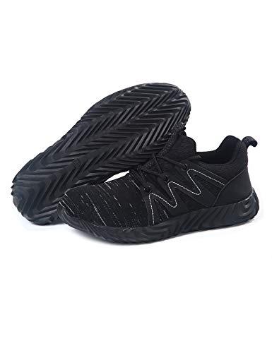 [ラッコウ] 安全靴 作業靴 スニーカー 鋼先芯入れ 通気性 耐滑 軽量 刺す叩く防止 メーズ レディース ブラックグレー 27.5 cm