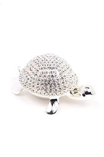 VI N VI - Joyero con diseño de tortuga de plata con diamantes de imitación y adorable, figura coleccionable pintada a mano y exhibición de joyas, soporte y organizador
