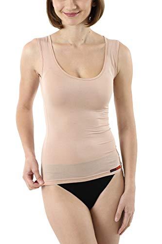 Albert Kreuz Business Damenunterhemd unsichtbar aus Micromodal Light atmungsaktiv ohne Arm extra-tiefer Rundausschnittt Hautfarbe Nude (L)