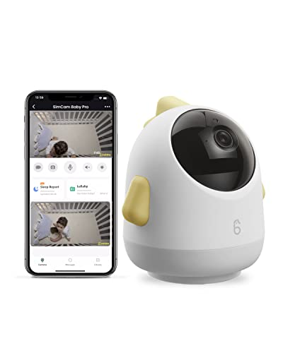 Simshine Smart Baby Monitor WiFi Baby Monitor AI 2K HD, 360° Rotation Baby Monitor,No Monthly Fees, Sleep Analytics and Two-Way Audio iOS & Android Compatible Yellow Baby Pro