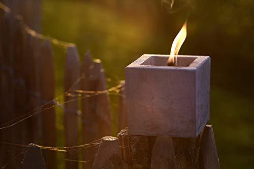 Beske-Betonfeuer mit 'Dauerdocht' | 10x10x10 | Wiederbefüllbare Gartenfackel | 'Unendliche' Brenndauer durch Recycling von Kerzenwachs | Tischfeuer Fackel Kerze Outdoor …