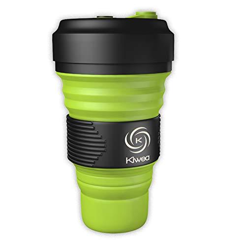 Kiwea 3 in 1 Faltbarer Multifunktionaler BPA-freier Wiederverwendbarerer Silikonbecher/Pocket Cup To Go mit Schraubverschluss und Karabiner bis zu 550ml für Reisen, Outdoor, Büro (Fruchtgrün, 1)