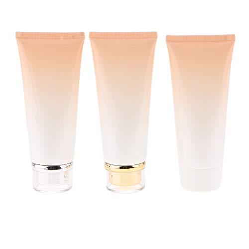 yotijar Envase de Botella de Loción de Tubo de Crema Cosmética Vacía de 3 Piezas de 100 Ml - Naranja