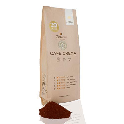 Fortezza Cafe Crema India Plantation | gemahlener Kaffee für French Press & Filtermaschinen | GOLD-Medaille Deutsche Röstergilde | kräftig-würziger Cafe Creme | Premium-Kaffee in bester Qualität