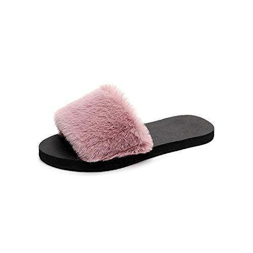 Qsy shoe Les Pantoufles à Fond Plat pour Les Femmes en Automne et en Hiver Portent Une Peluche Chaude antidérapante, Poudre, 39