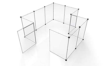 Tespo Pet Playpen Portable Large Plastic Yard Fence Small Animals Puppy Kennel Crate Fence Tent 28 X 20 Inch White 12 Panels