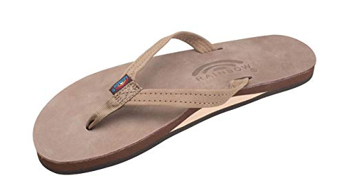 Rainbow Sandals Women's Single Layer Premier Leather Narrow Strap, Dark Brown, Ladies Large / 7.5-8.5 B(M) US