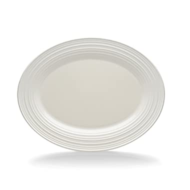 Mikasa Swirl White Oval Serving Platter, 14-Inch