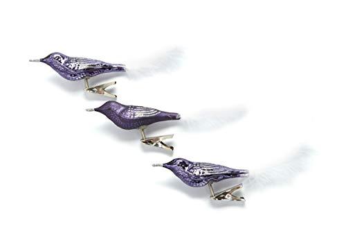 HEITMANN DECO Glas-Vogel Christbaumschmuck mit Clip - Vögel mit Ornament und Federschwanz - Weihnachtsdeko - 3er-Set, Violett