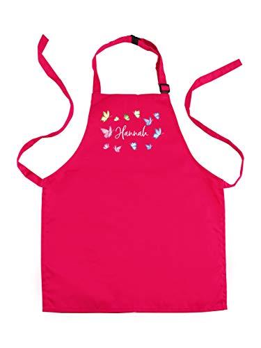 Striefchen® Pinke Kinderschürze mit Namen für Mädchen mit schönen Schmetterlingen inkl. Geschenkverpackung perfekt zur Einschulung Groß