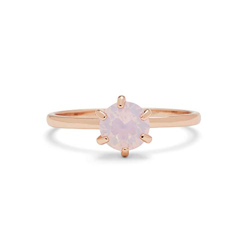 Pura Vida Rose Gold-Plated Iridescent Stone Stackable Ring - Brass Base, Stylish Design - Size 9