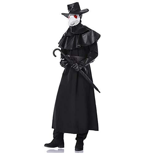 A-myt Comedia única Caballero Steam Halloween Traje Adulto Doctor Cuervo Boca máscara Juego Agradable (Color : Black, Size : L)