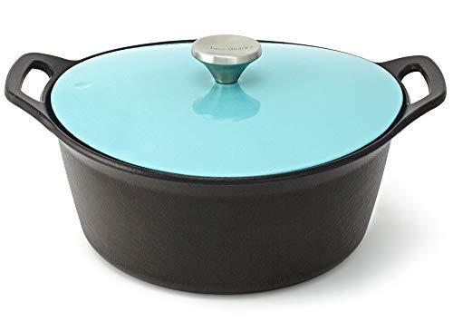 HearthStone Cookware Cocotte Pearl en fonte émaillée, turquoise, 26 cm, 5,2 l, pour toutes les surfaces, y compris l'induction et le four.