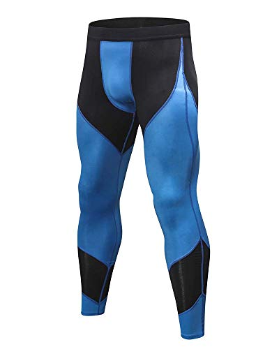Herren Leggings Sport Hose Unterhose Männer Strumpfhose Joggingpants Elastic Compression Pants Fast Drying Trousers Leggings Unterwäsche Herrenleggings Schwarz Blau XL