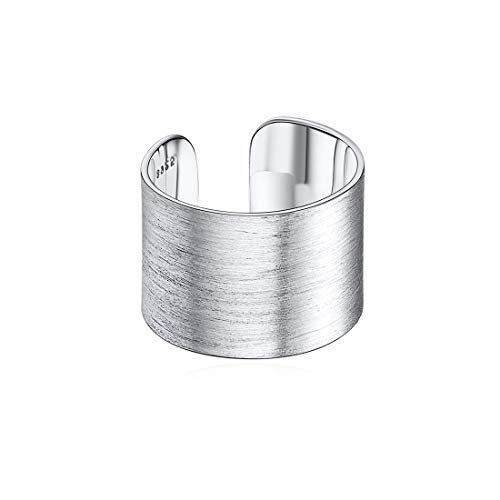 ChicSilver Anello Regolabile Donna Uomo in Argento Sterling S925 15mm Largo Grande, Superficie Filigrana Spazzalata, Gioiello Minimalista, Stile Hip Hop, Knuckle Rings - Regalo Perfetto