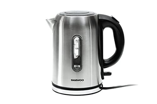 DAEWOO DEK-1237 Elektrischer Wasserkocher aus Edelstahl | 1.7L 2200W Wasserkocher | Schnurlose 360 Grad drehbare Basis | Auto Deckel
