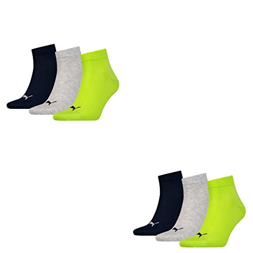 6 Paar Puma Sneaker Quarter Socken Unisex Invisible / schwarz, blau, grau / Art. 251015 (Lime Punch, 39/42)