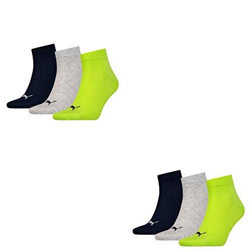 6 Paar Puma Unisex Quarter Socken Sneaker Gr. 35 - 49 für Damen Herren Füßlinge, Socken und Strümpfe:43-46, Farbe:064 - lime punch