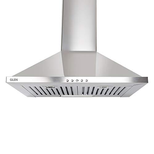 Glen 60cm 1000 m³/hr Pyramid Kitchen Chimney Push Buttons Baffle Filters (6050 DX SS Junior,...