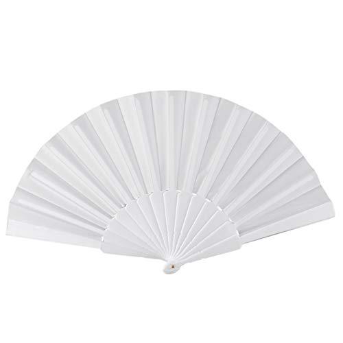 enioysun Abanico Ventilador de Mano Retro de Verano, Ventilador Plegable a Mano, decoración del hogar 23 cm (Color : White)