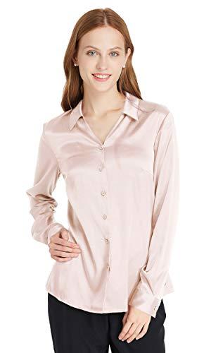 LilySilk Einfach Seidenhemd Damenbluse Arbeitskleidung Seidenbluse Hemdbluse Damenmode Hemd Bluse Shirt Damen 19 Momme Verpackung MEHRWEG (S, Hell Beige)