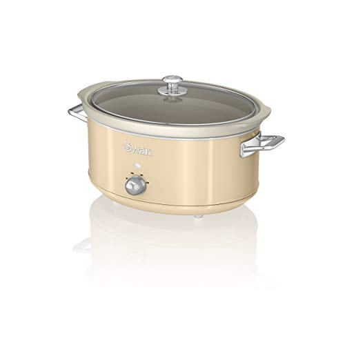 Swan SF17031CN 6.5 Litre Retro Slow Cooker with Removable Ceramic Pot, 3 Heat Settings-Includes Recipe Book, 320w, 320 W, 6.5 liters, Cream