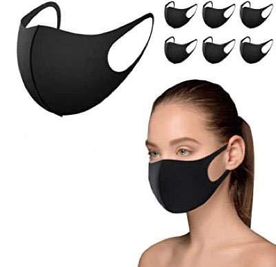 Maschera Paradenti, 12 maschere riutilizzabili, maschera antipolvere, maschera viso per corsa, ciclismo, sci, attività all'aperto, lavabile, seta [colore nero]