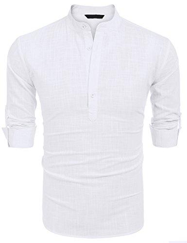 COOFANDY Herren Hemd Langarmshirt Leinenshirt aus Baumwollmischung Leinen Henley-Kragen Sommer Shirt für Männer Weiß S