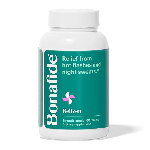 Bonafide Relizen - Potente alivio libre de hormonas de sofocos y sudores nocturnos durante la menopausia* - 1 mes de suministro (60 tabletas)