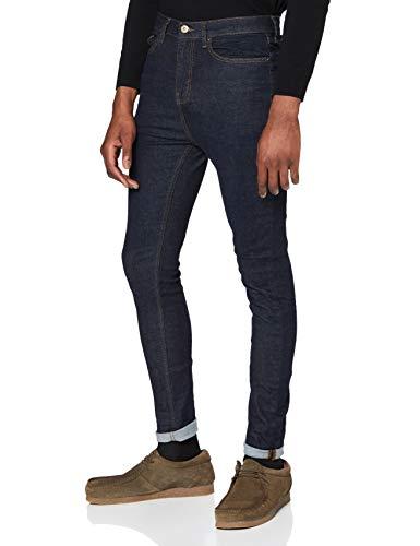 find. Vaqueros Super Skinny Hombre, Azul (Indigo Raw), 34W / 32L, Label: 34W / 32L