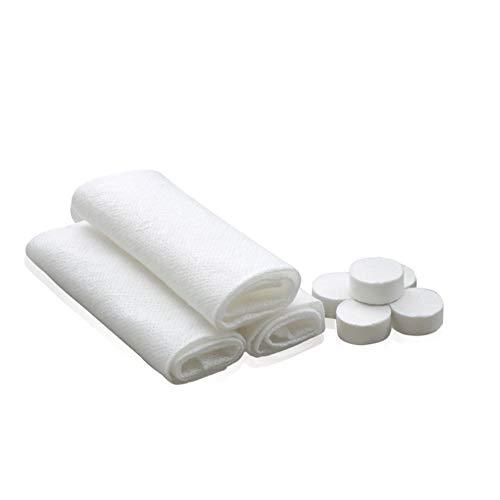 Macabolo Draagbare gecomprimeerde handdoek, 100 pak wegwerp katoen uitbreidbaar mini gezicht handdoek voor outdoor-sport reizen