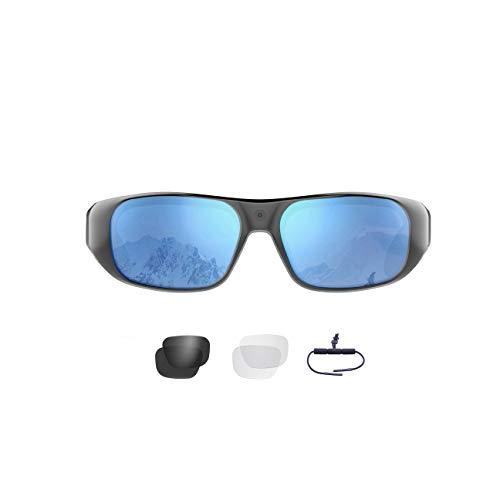 Waterproof Video Sunglasses,64GB Ultra 1080P HD Outdoor Sports Action Camera and 4 Sets Polarized UV400 Protection Safety Lenses,Unisex Sport Design.