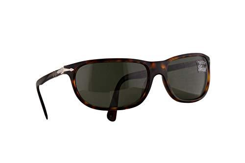 Persol 3222-S Sonnenbrille Braunen Mit Grünem Gläsern 62mm 2431 PO 3222S PO3222S PO3222-S