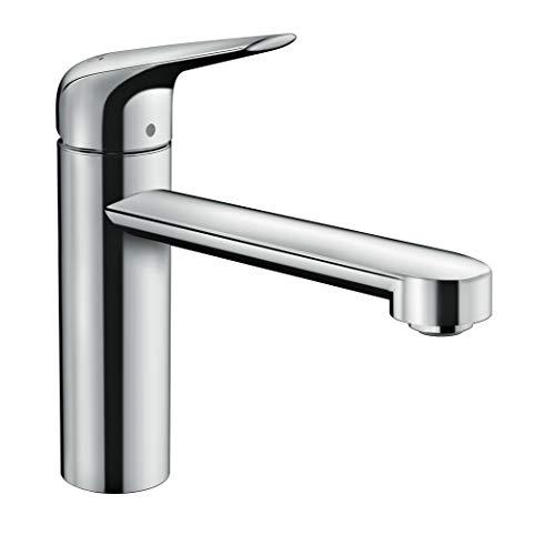 hansgrohe Küchenarmatur Niederdruck (Wasserhahn Küche 360° schwenkbar, für Niederdruck, hoher Komfort-Auslauf 120mm, Standardanschlüsse) Chrom