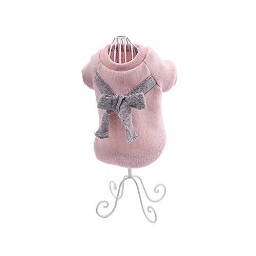 Ouken Lindo Perro suéter Mascota Chaleco arnés Cachorro Punto Polar Abrigo Ropa Caliente Chaleco a Prueba de Viento Ropa para Perros pequeños Mascotas Rosa-tamaño Meddium