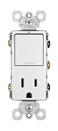 Legrand radiant 15 Amp Combination Switches, Rocker Wall Light Switch, White, Combination 3-Way Switch + Outlet, RCD38TRWCC6