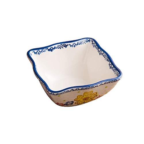DYB Juego de vajilla, Cuenco de cerámica, Cuenco de cerámica, Plato para Ensalada de Frutas, Plato para el hogar, Restaurante, Utensilios de Dieta, Cuadrado, 16x7,5 cm