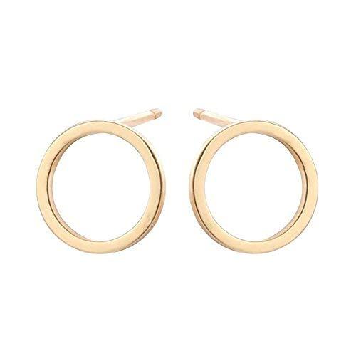 CHUYUN Pretty Bijoux Tiny Round Stud Earrings Simple Geometric Circle Earrings for Women Girls (Gold)