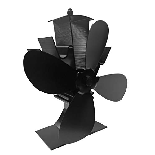Open haard 4Blade houtkachel Heat Powered Stove Fan Home Heat Distribution Fan Black