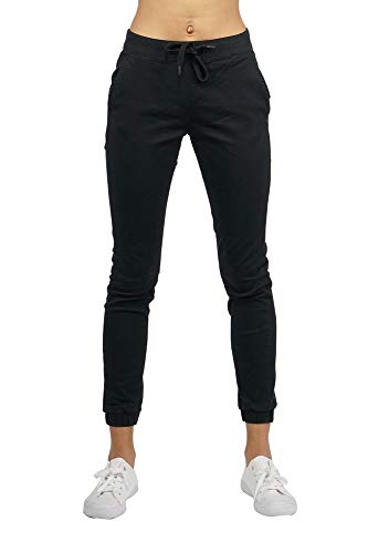 Southpole Women's Jogger Pants in Solid and Camo Colors Stretch Twill Fabric (Black, XX-Large)